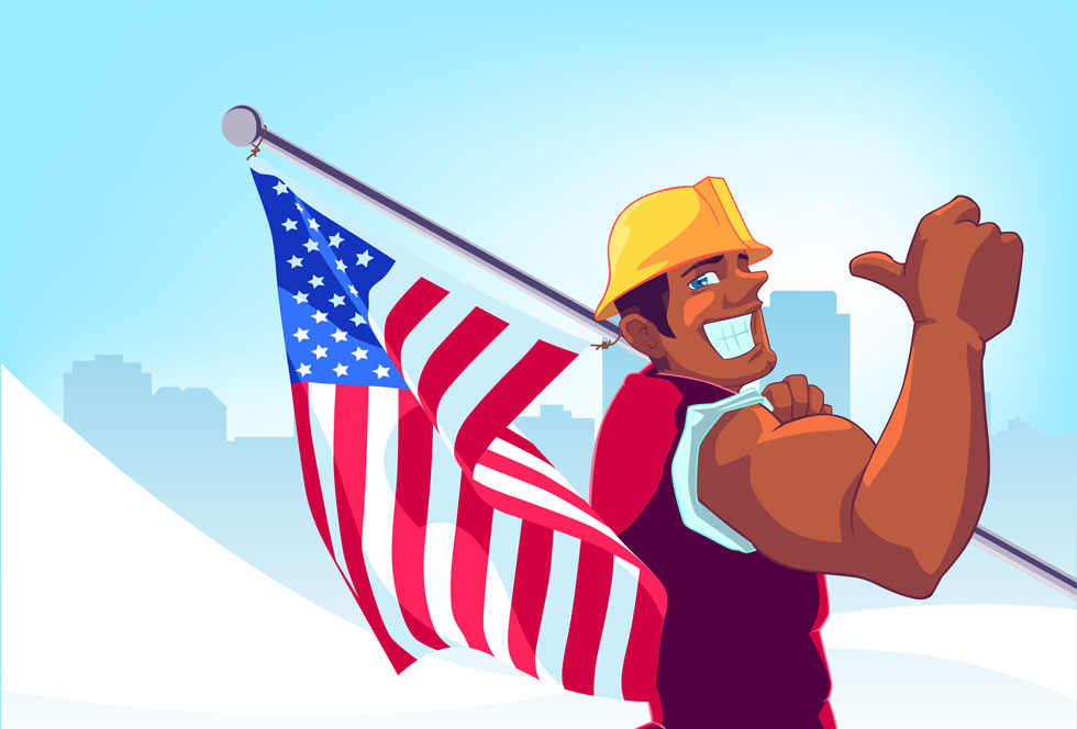 Happy Labor Day Clipart American Flag