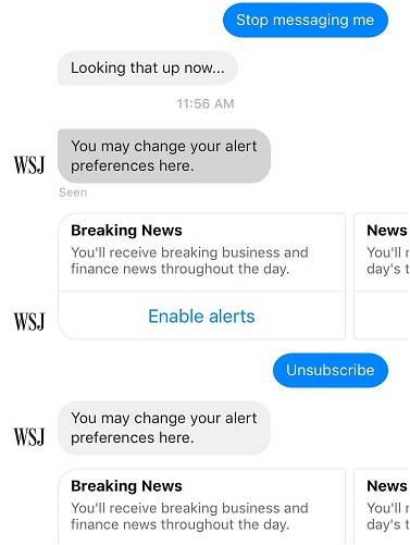 WSJ ChatBot: Unsubscribe